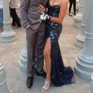 Jovani Strapless Dark Blue Prom dress